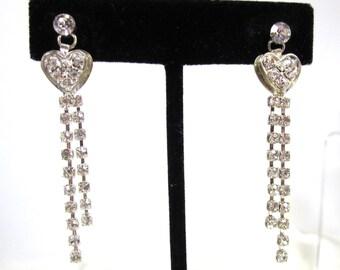 Vintage Wedding Heart Rhinestone Pierced Earrings