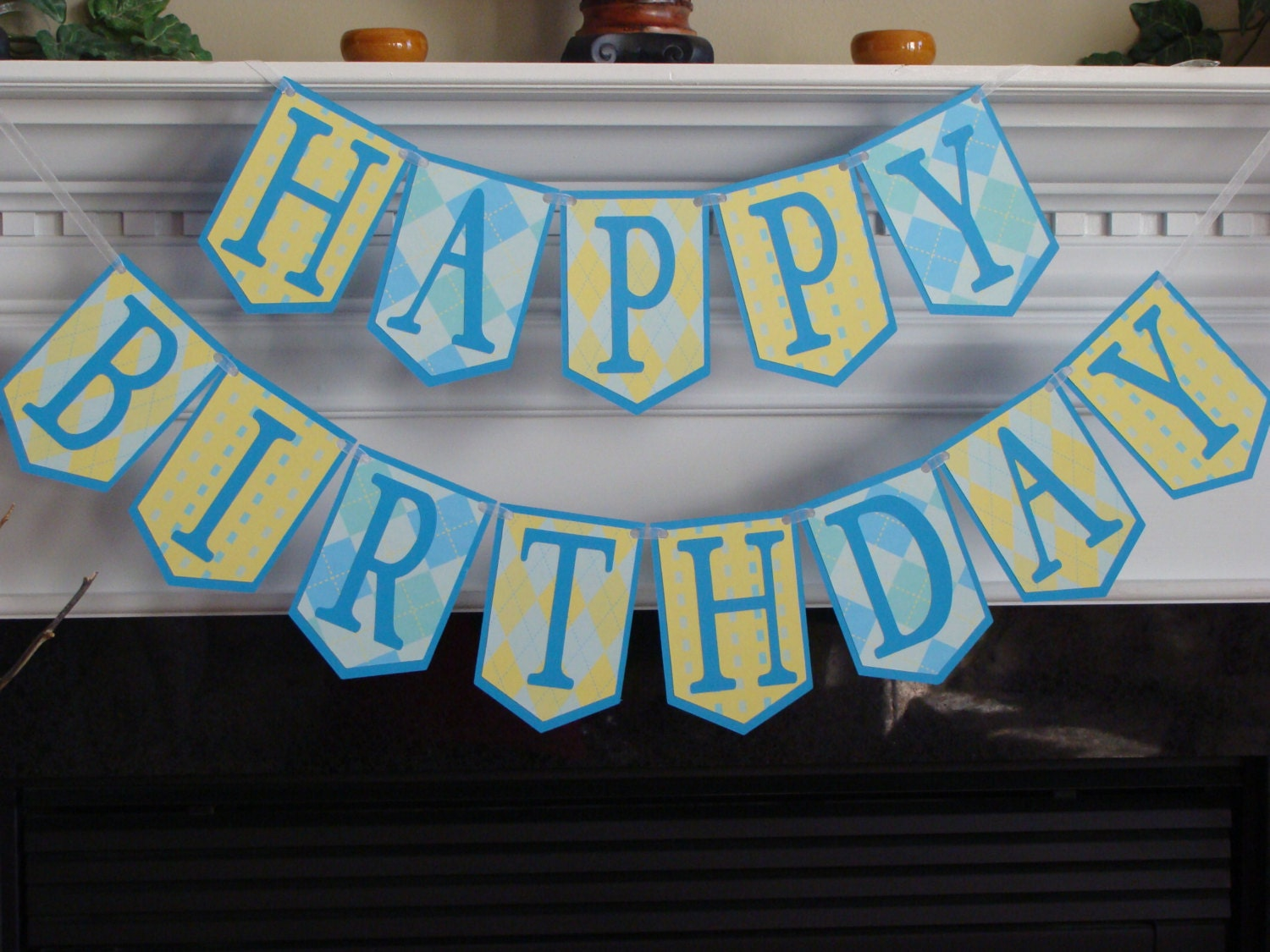 happy birthday banner blue  u0026 yellow pennants with bright