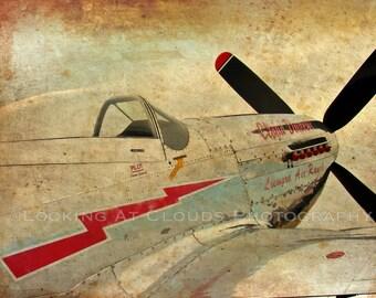 P51 airplane art, aviation art photo, P-51 Mustang, vintage airplane decor, pilot gift, Cloud Dancer