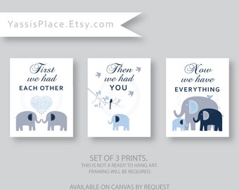 First We Had Each Other, Navy, Gray, Blue Elephant Nursery Decor, Baby Boy Nursery Art Prints, Children Art by YassisPlace 075