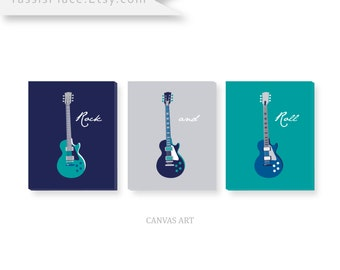 Guitar CANVAS Art Baby boy blue Nursery Decor, Kids Wall Art in Turquoise Gray Navy Blue set of 3 Wall Decor Gift by YassisPlace GABNG - C05