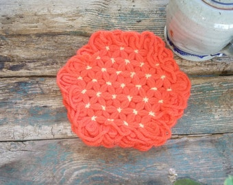 Vintage Handmade Pot Holder 1950's Orange Beige Home Decor New Orleans Vintage Shop Holiday Retro