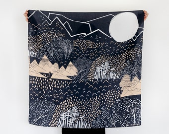 Mountain Blossom Midnight Blue Furoshiki. Japanese eco wrapping textile/scarf