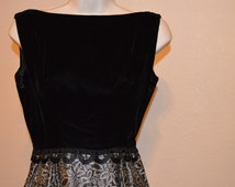 Black Velvet and Silver Evening Gown Size 3/5
