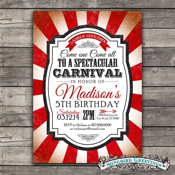 Items similar to Vintage carnival theme birthday invitation ...
