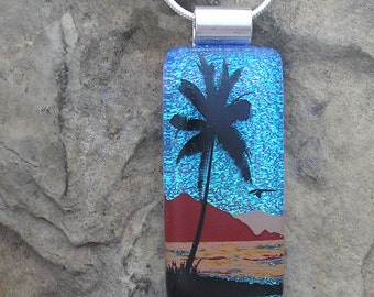 Palm Tree Necklace Dichroic Fused Glass Beach Pendant