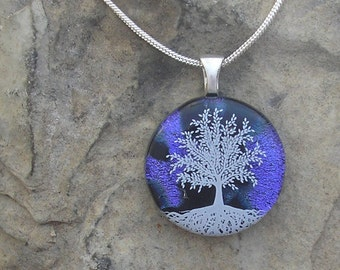 Purple Tree of Life Necklace Dichroic Fused Glass Tree Pendant