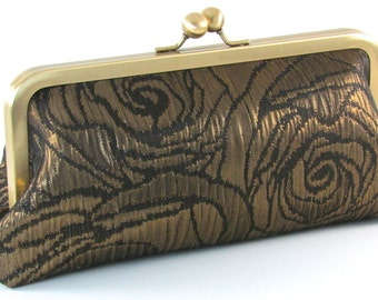 Gold Evening Purse - Metallic Clutch - Metal Frame Flower Handbag - Bagboy