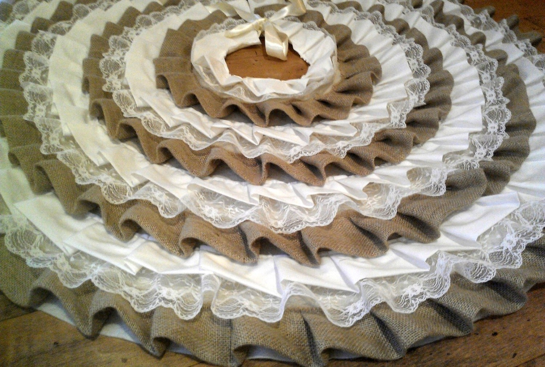 Ruffle Christmas Tree Skirt 45 Burlap Ivory By SouthernDresser
