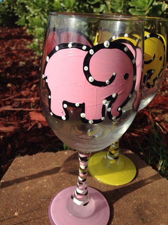 Baby pink  Elephant Painted Wine glass