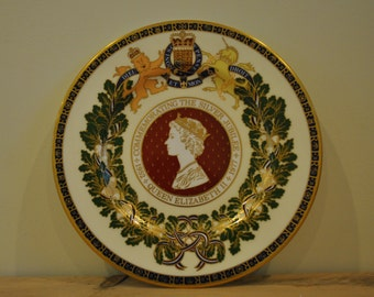 Vintage Wedgwood china plate - Silver Jubilee - Colour limited edition