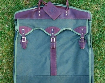 vtg wilderness pride garment bag olive green canvas orvis