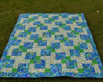 Patchwork Quilt, Blue Ocean Blanket, Lap or Sofa Quilt, Nautical Decor, Beach Quilt