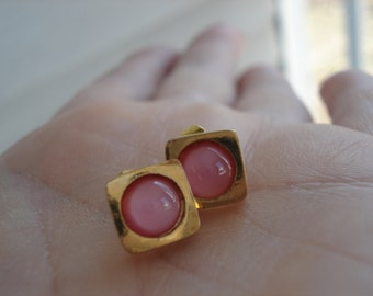 Vintage Pink Moonstone Glass Stud Pierced Gold Earrings Hip to be Square
