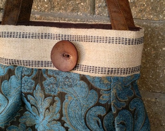 Brown and blue Chenille Handbag Purse Everyday Bag