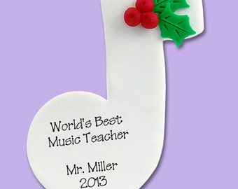 MUSIC NOTE Personalized Christmas Ornament Hand Made POLYMER Clay