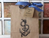 Personalized Kraft Favor Bags  & Tags  -  Set of 5  - Anchor  - Four Bag Sizes Available - You Choose Ribbon Color
