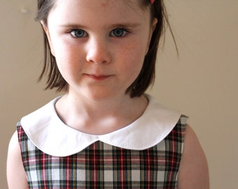 Vintage Inspired Sleeveless Tartan Dress Ready to Ship in Size 4T.  Peter Pan Collar.  Red and White Plaid Shift Dress. House of Wales Plaid