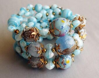 1950's Light Aqua Turquoise Wedding Cake Bead Wrap Bracelet