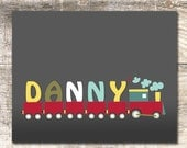 Train print - personalized with your child's name!!  Different print sizes available!