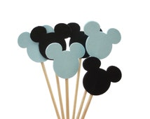 24 Black and Light Blue Mickey Mouse Cupcake Toppers Food Picks Toothpicks Party Picks - No646