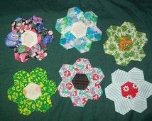 Hexagon Flowers--Set of 6