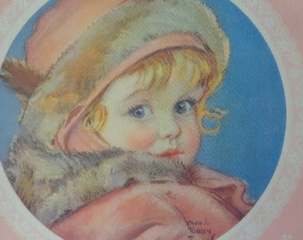 Gorgeous 1930s Linen Style Baby Puppy CHRISTMAS Print, Large, Flip Side Winter FUR Toddler, coveted Fangel ART, Mellow
