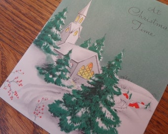 A Treasure Oh the 40s NOSTALGIA, 1940s UNUSED Christmas Card w Envelope, Very Pretty, French fold, Aged Matte Glorious Paper & Prose, MORE