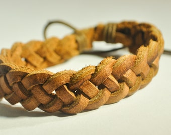 Light Brown double braided leather bracelet