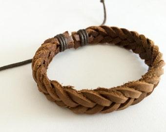Raw Brown leather braided bracelet