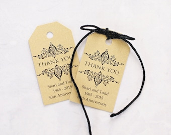 50th Wedding Anniversary Gift Tags : Thank You Wedding Favor Tag, Gold Tags, Party Favor Gift Tag, 50th ...