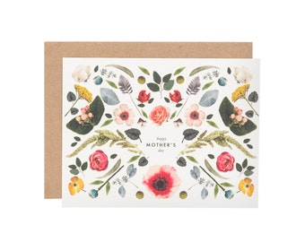 Mother's Day Scandinavian folk flowers card