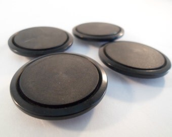 Vintage Large 4  shiny and dull centered Big Black Buttons
