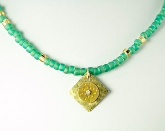 Seafoam Seed Bead Necklace with Hammered Metal Pendant
