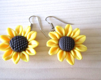 Sun flower earrings- Bridal earrings - Bridesmaids earrings