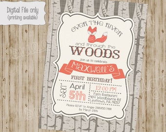 fox birthday invitation, woodland fox invitation, fall birthday invitation, Digital, Printable file