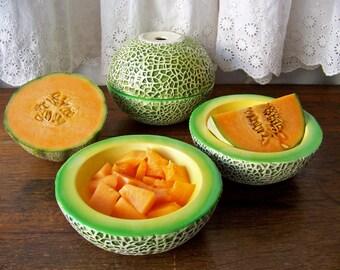 Vintage Melon Bowls Holt Howard 1959 RARE Cantaloupe Bowls Breakfast Bowls Stacking Bowls Retro Kitchen