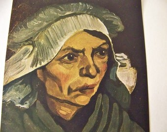 Vintage Van Gogh Print Dutch Peasant Woman French Painting Color Plate Classic Art Frameable Print Famous Works of Art Vintage 1950s