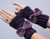Dark PurpleGloves With a Light Purple Bow