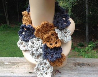 Mustard and Grey flower Scarf