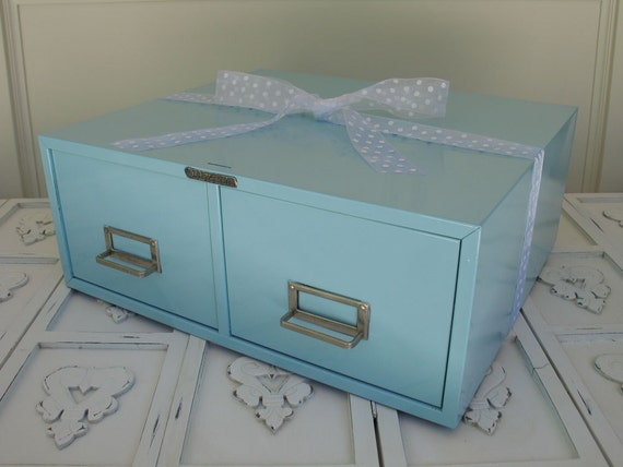 """Vintage Steelmaster Card File Box - 2 Drawer Painted """"Tiffany Blue"""" and 3 Wire Desk Baskets"""