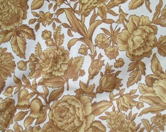 Remnant Vintage Fabric Waverly Piedmont Toile Floral Toile Hydrangea Barkcloth Era Upholstery Golden Fall Earthtone  K66