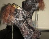 High Heel Platform Spiked Women Booties Gold/Brown with Fur size 7 1/2...A SpikesByG Design