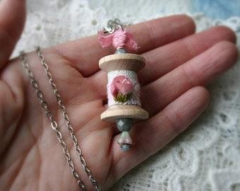 Rosebud Wooden Spool Pendant