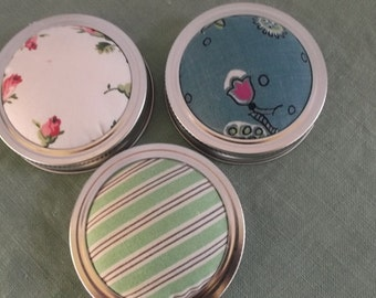 Jelly Jar Lid Vintage Fabric Pincushion Mason Jar-Free Shipping 3 Lids
