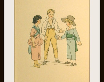 Vintage Book Prints, English Children's Costume from 1770'S to 1790's era