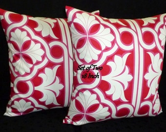 Decorative Pillows, Throw  Pillows, Pillow Covers, Home Decor, Accent Pillows -  Fuchsia, Ivory, and Cherry - Set of Two 18 Inch