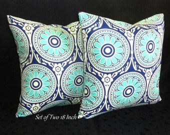 Decorative Accent Throw Pillow Covers - Royal Blue and Turquoise - Two 18 Inch