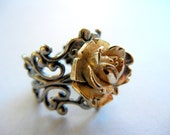 Silver and Gold Ring, Adjustable, Cocktail Ring, Flower Ring, Gold Rose Ring, Filigree, Holiday, Black Friday, Cyber Monday, Gift for Her