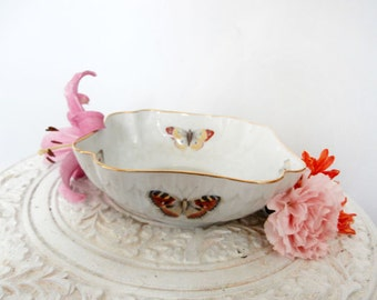Pretty Porcelain  Butterfly Bowl